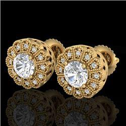 1.32 CTW VS/SI Diamond Solitaire Art Deco Stud Earrings 18K Yellow Gold - REF-245K5W - 37054