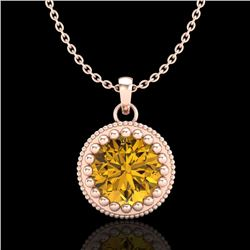 1 CTW Intense Fancy Yellow Diamond Solitaire Art Deco Necklace 18K Rose Gold - REF-158M2F - 37491