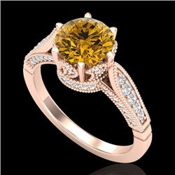 2.2 CTW Intense Fancy Yellow Diamond Engagement Art Deco Ring 18K Rose Gold - REF-336N4A - 38093