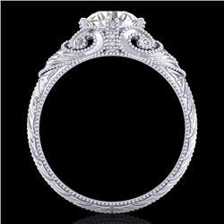 1 CTW VS/SI Diamond Solitaire Art Deco Ring 18K White Gold - REF-315H2M - 36908