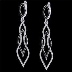 1.90 CTW Micro Pave Black & VS/SI Diamond Certified Earrings 14K White Gold - REF-153N3A - 20092
