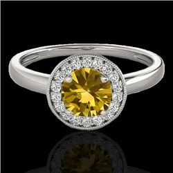 1.15 CTW Certified SI/I Fancy Intense Yellow Diamond Solitaire Halo Ring 10K White Gold - REF-152F7N