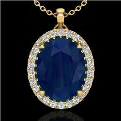 2.75 CTW Sapphire & Micro VS/SI Diamond Halo Solitaire Necklace 18K Yellow Gold - REF-60R2K - 20599