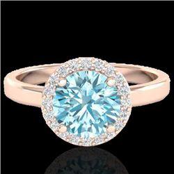 2 CTW Sky Blue Topaz & Halo VS/SI Diamond Micro Ring Solitaire 14K Rose Gold - REF-41Y3X - 21622