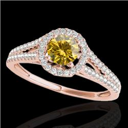 1.30 CTW Certified SI/I Fancy Intense Yellow Diamond Solitaire Halo Ring 10K Rose Gold - REF-162M7F
