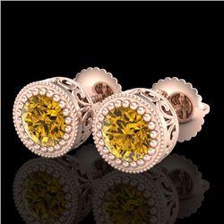 1.09 CTW Intense Fancy Yellow Diamond Art Deco Stud Earrings 18K Rose Gold - REF-123R6K - 37484