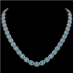 33.25 CTW Swiss Topaz & Diamond Necklace White Gold 10K White Gold - REF-506W4H - 40826