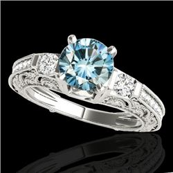 1.38 CTW SI Certified Blue Diamond Solitaire Antique Ring 10K White Gold - REF-174X5R - 34644