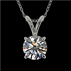 0.77 CTW Certified H-SI/I Quality Diamond Solitaire Necklace 10K White Gold - REF-97F5N - 36739