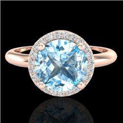 2.70 CTW Sky Blue Topaz & Micro VS/SI Diamond Ring Designer Halo 14K Rose Gold - REF-45F6N - 23215