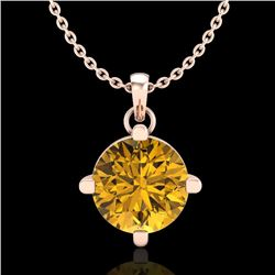 1 CTW Intense Fancy Yellow Diamond Solitaire Art Deco Necklace 18K Rose Gold - REF-154A5V - 38079