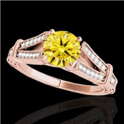 1.25 CTW Certified SI Intense Yellow Diamond Solitaire Antique Ring 10K Rose Gold - REF-214X5R - 346