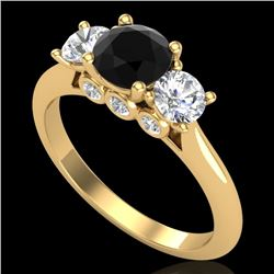 1.50 CTW Fancy Black Diamond Solitaire Art Deco 3 Stone Ring 18K Yellow Gold - REF-136N4A - 38264