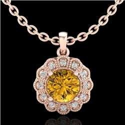 1.15 CTW Intense Fancy Yellow Diamond Art Deco Stud Necklace 18K Rose Gold - REF-218V2Y - 37848