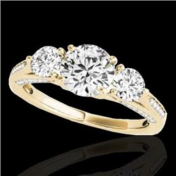 1.75 CTW H-SI/I Certified Diamond 3 Stone Ring 10K Yellow Gold - REF-236X4R - 35351