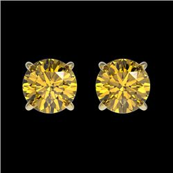 1 CTW Certified Intense Yellow SI Diamond Solitaire Stud Earrings 10K Yellow Gold - REF-116F3N - 330