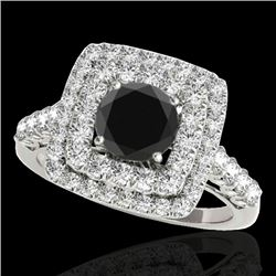 2.05 CTW Certified VS Black Diamond Solitaire Halo Ring 10K White Gold - REF-114M2F - 34588
