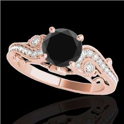 1.50 CTW Certified VS Black Diamond Solitaire Antique Ring 10K Rose Gold - REF-59H5M - 34805