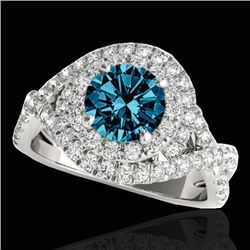 1.75 CTW SI Certified Fancy Blue Diamond Solitaire Halo Ring 10K White Gold - REF-209K3W - 33869