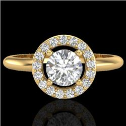 0.75 CTW Micro Pave Halo Solitaire VS/SI Diamond Certified Ring 18K Yellow Gold - REF-110V7Y - 23289