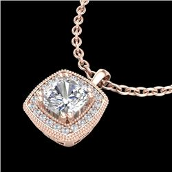 1.25 CTW Cushion VS/SI Diamond Solitaire Art Deco Necklace 18K Rose Gold - REF-315M2F - 37038