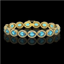 24.32 CTW Swiss Topaz & Diamond Bracelet Yellow Gold 10K Yellow Gold - REF-252V7Y - 41029
