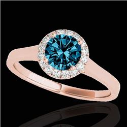 1.11 CTW SI Certified Fancy Blue Diamond Solitaire Halo Ring 10K Rose Gold - REF-167X3R - 33820