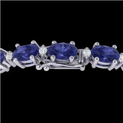 26.3 CTW Tanzanite & VS/SI Certified Diamond Eternity Bracelet 10K White Gold - REF-345H5M - 29463