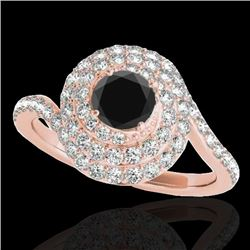 2.11 CTW Certified VS Black Diamond Solitaire Halo Ring 10K Rose Gold - REF-96A9V - 34517