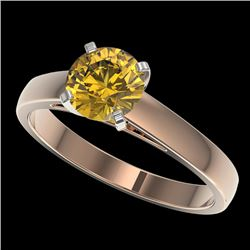 1.29 CTW Certified Intense Yellow SI Diamond Solitaire Ring 10K Rose Gold - REF-191R3K - 36544