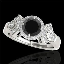 1.56 CTW Certified VS Black Diamond Solitaire Halo Ring 10K White Gold - REF-69W3H - 34331