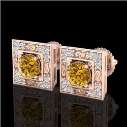 1.63 CTW Intense Fancy Yellow Diamond Art Deco Stud Earrings 18K Rose Gold - REF-176F4N - 38163