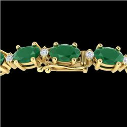 15 CTW Emerald & VS/SI Diamond Certified Eternity Bracelet 10K Yellow Gold - REF-122K7W - 21449