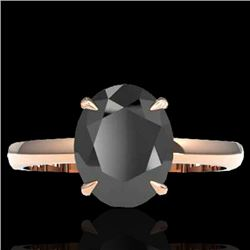5 CTW Black VS/SI Diamond Designer Inspired Solitaire Ring 14K Rose Gold - REF-161W8H - 22054