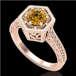 0.77 CTW Intense Fancy Yellow Diamond Engagement Art Deco Ring 18K Rose Gold - REF-130W9H - 37505