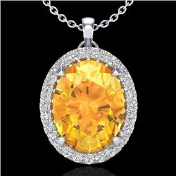 2.75 CTW Citrine & Micro VS/SI Diamond Halo Solitaire Necklace 18K White Gold - REF-48R4K - 20585