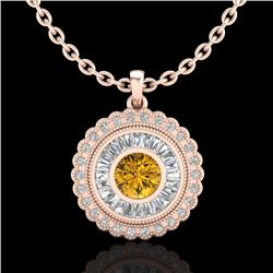 2.11 CTW Intense Fancy Yellow Diamond Art Deco Stud Necklace 18K Rose Gold - REF-227H3M - 37918