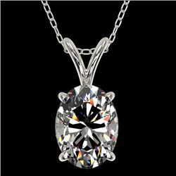 1.25 CTW Certified VS/SI Quality Oval Diamond Solitaire Necklace 10K White Gold - REF-423K3W - 33211