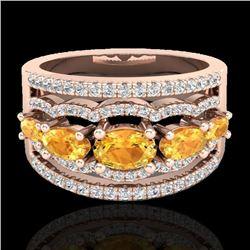 2.25 CTW Citrine & Micro Pave VS/SI Diamond Certified Designer Ring 10K Rose Gold - REF-71X8R - 2079