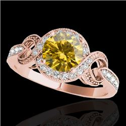 1.33 CTW Certified SI/I Fancy Intense Yellow Diamond Solitaire Halo Ring 10K Rose Gold - REF-176W4H