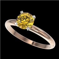 1 CTW Certified Intense Yellow SI Diamond Solitaire Engagement Ring 10K Rose Gold - REF-180Y2X - 328