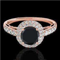 1.65 CTW Certified VS Black Diamond Solitaire Halo Ring 10K Rose Gold - REF-86F5N - 33701