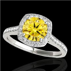 1.40 CTW Certified SI/I Fancy Intense Yellow Diamond Solitaire Halo Ring 10K White Gold - REF-227X3R