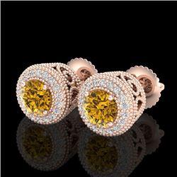 1.55 CTW Intense Fancy Yellow Diamond Art Deco Stud Earrings 18K Rose Gold - REF-169Y3X - 37659