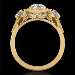 2.11 CTW VS/SI Diamond Solitaire Art Deco 3 Stone Ring 18K Yellow Gold - REF-472R7K - 37330