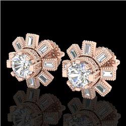1.77 CTW VS/SI Diamond Solitaire Art Deco Stud Earrings 18K Rose Gold - REF-263K6W - 37065
