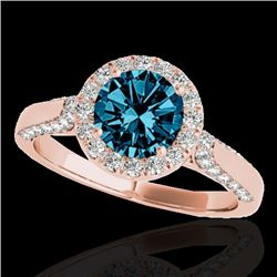 1.50 CTW SI Certified Fancy Blue Diamond Solitaire Halo Ring 10K Rose Gold - REF-176M4F - 33568