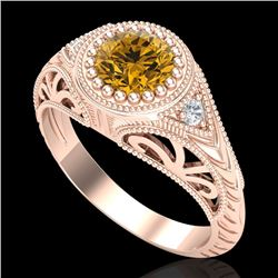 1.07 CTW Intense Fancy Yellow Diamond Engagement Art Deco Ring 18K Rose Gold - REF-200X2R - 37477