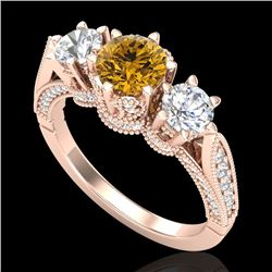 2.18 CTW Intense Fancy Yellow Diamond Art Deco 3 Stone Ring 18K Rose Gold - REF-254V5Y - 38114
