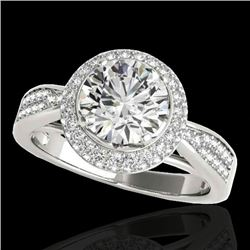 1.65 CTW H-SI/I Certified Diamond Solitaire Halo Ring 10K White Gold - REF-180R2K - 34405